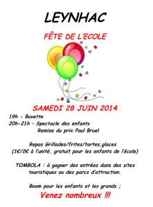 Affiche fête de l'école 28 juin 2014