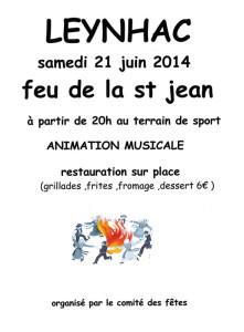 Affiche feu de la Saint Jean 2014