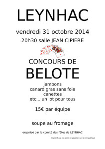 Affiche Belote Octobre 2014