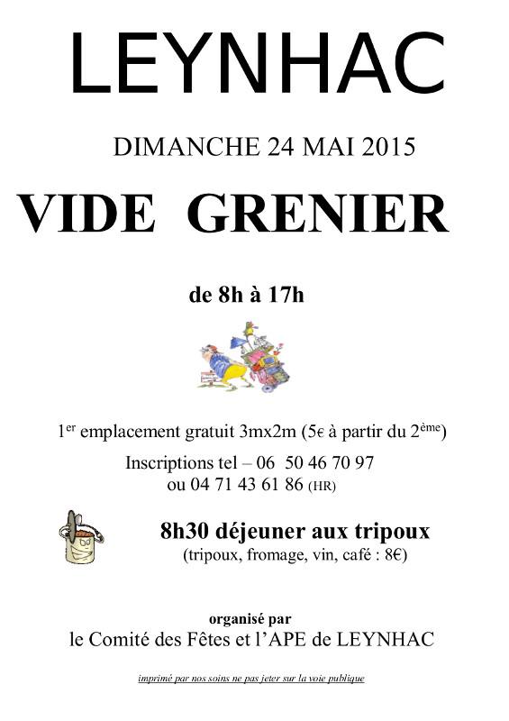 Vide grenier le 24 mai 2015 leynhac - Vide grenier 77 2015 ...