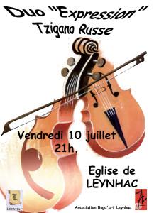 Affiche Concert Tzigano Russe 11 juillet 2015 Leynhac
