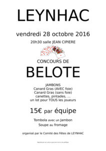 Affiche belote 28 octobre 2016